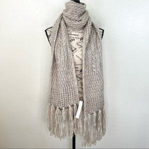 Sole Society Long Cable Knit Fringe Scarf Beige